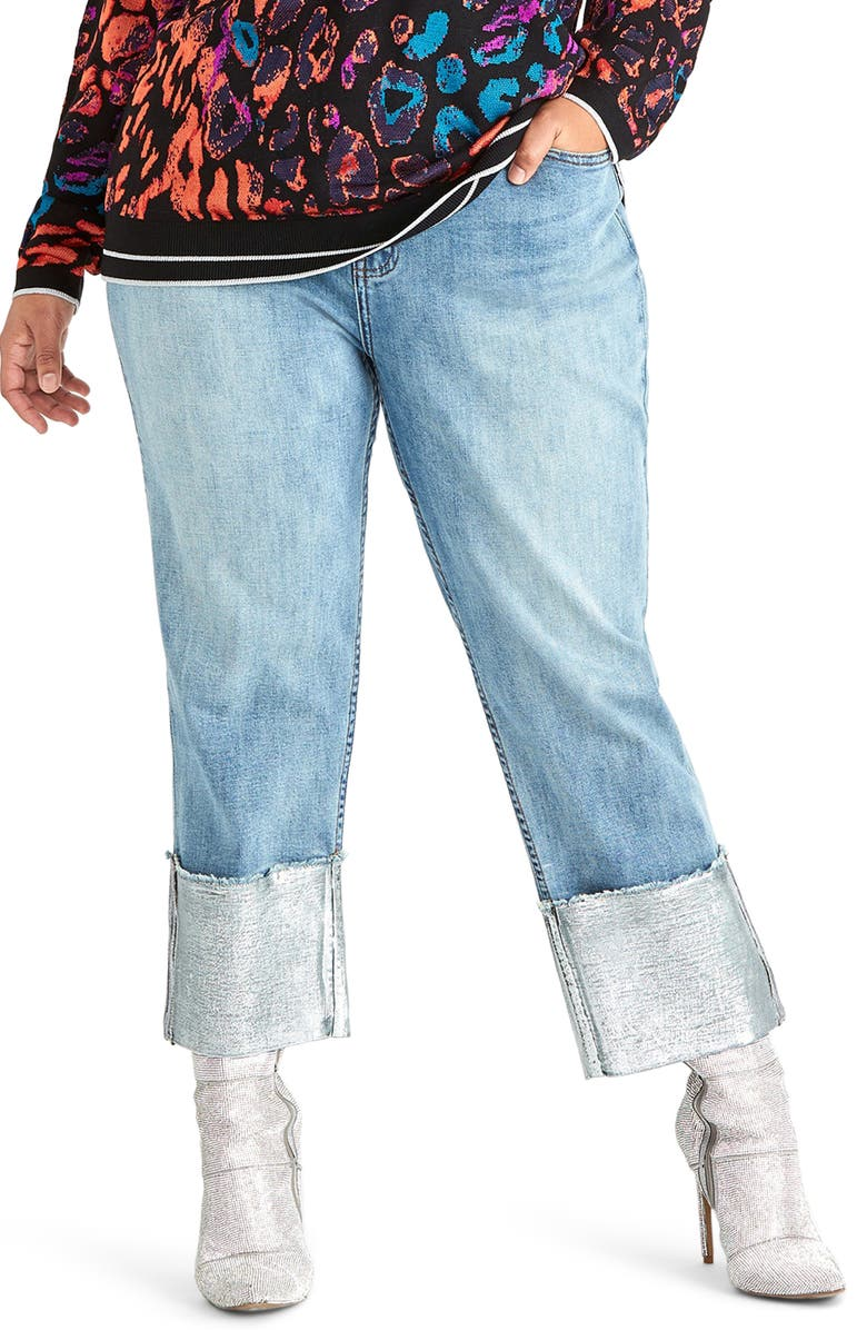 RACHEL Rachel Roy Cleopatra Jeans Lotus Silver Foil Plus Size