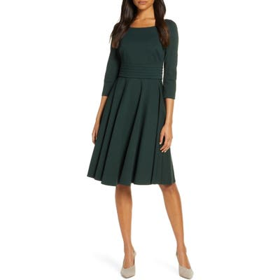 Harper Rose Pleated Fit & Flare Dress, Green