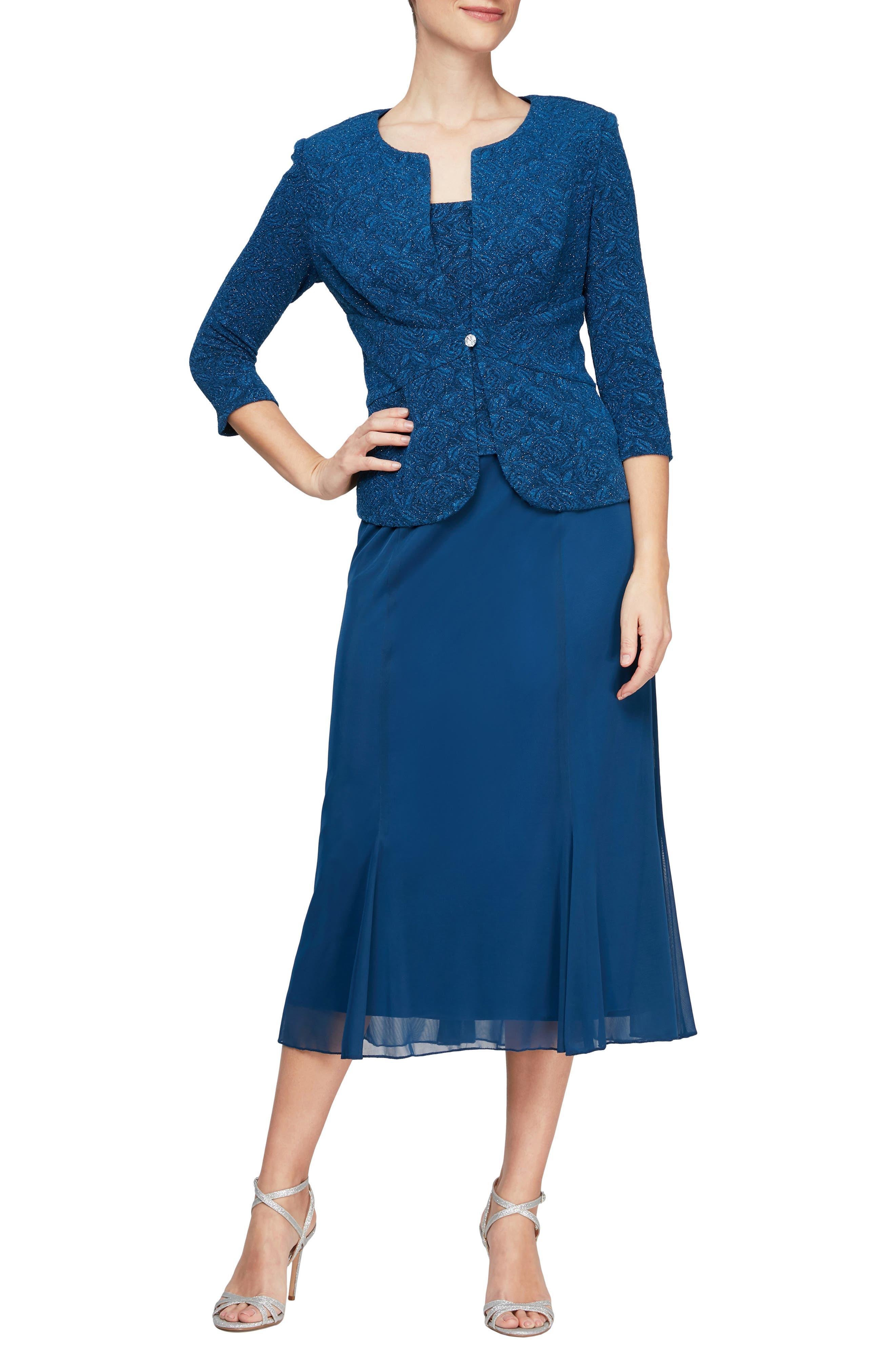 1930s Dresses | 30s Art Deco Dress Womens Alex Evenings Tea Length Mock Jacket Dress Size 18 - Bluegreen $199.00 AT vintagedancer.com