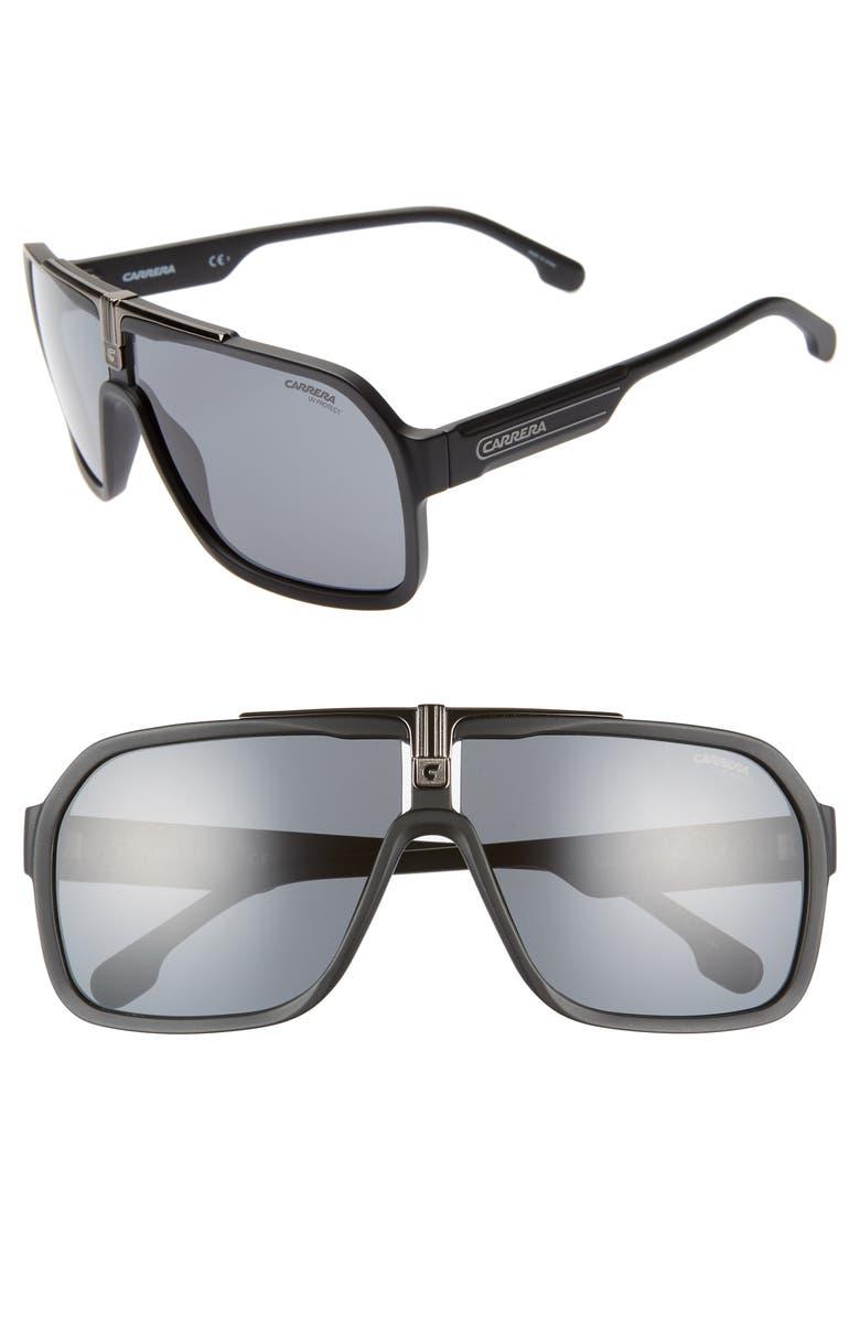 CARRERA EYEWEAR 64mm Navigator Sunglasses, Main, color, 001