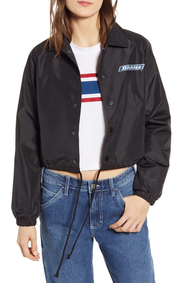 DICKIES Logo Crop Windbreaker Jacket, Main, color, BLACK
