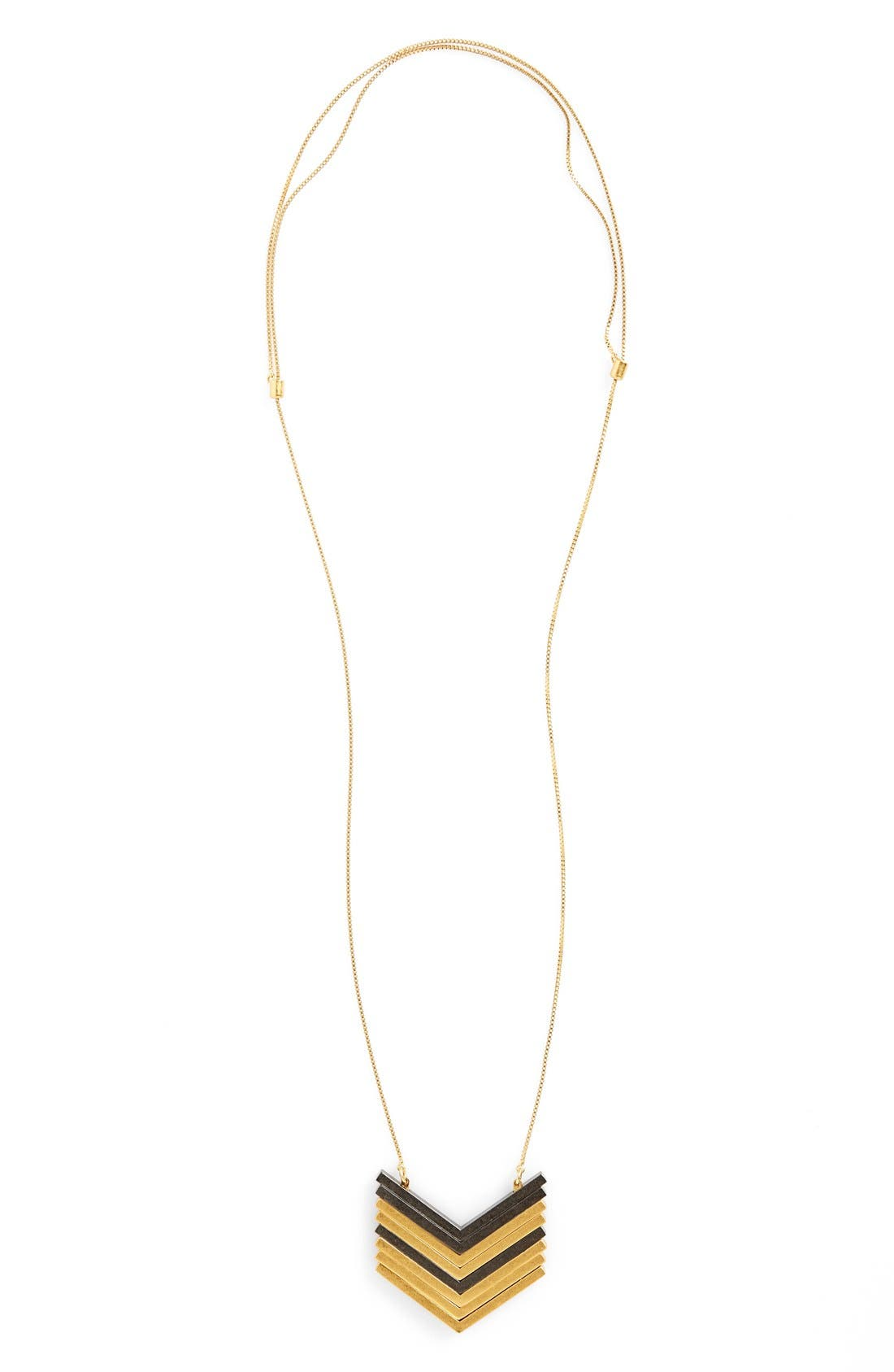 Chevron pendants in both goldtone and gunmetal finishes stack together to create bohemian charm on a chain necklace fashioned with an adjustable slide closure so you can wear it at various lengths for styling versatility. Style Name: Madewell Arrowstack Necklace. Style Number: 5187201. Available in stores.