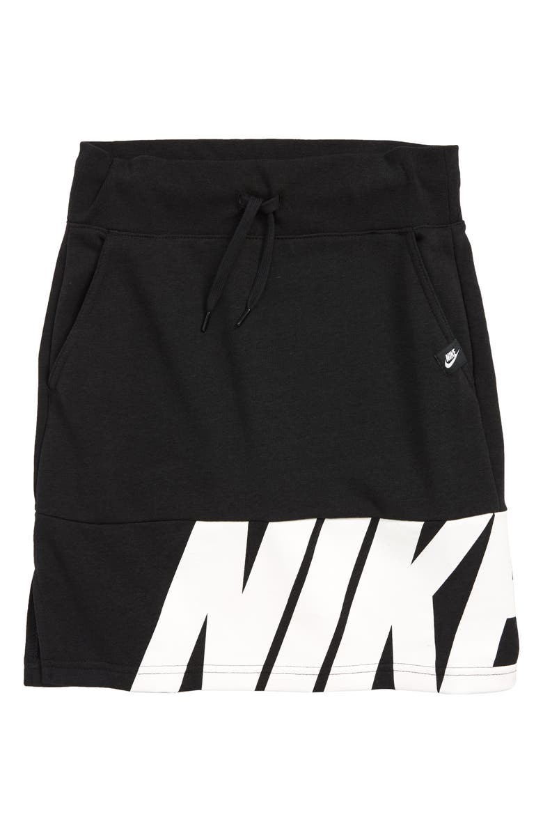 NIKE Air Logo Print Skirt, Main, color, 010