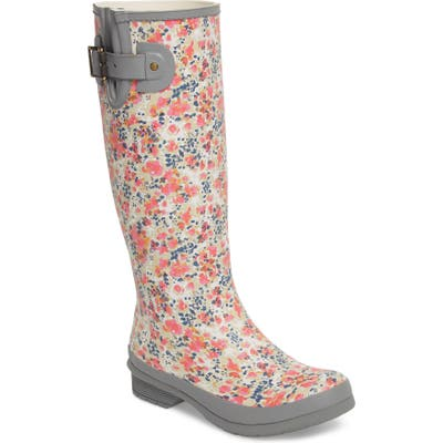 Chooka Julia Floral Waterproof Rain Boot, Grey