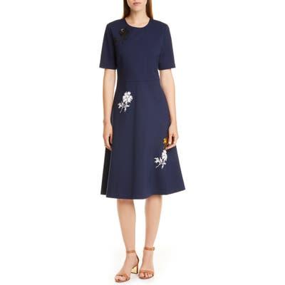 Tory Burch Embellished Fit & Flare Ponte Dress, Blue
