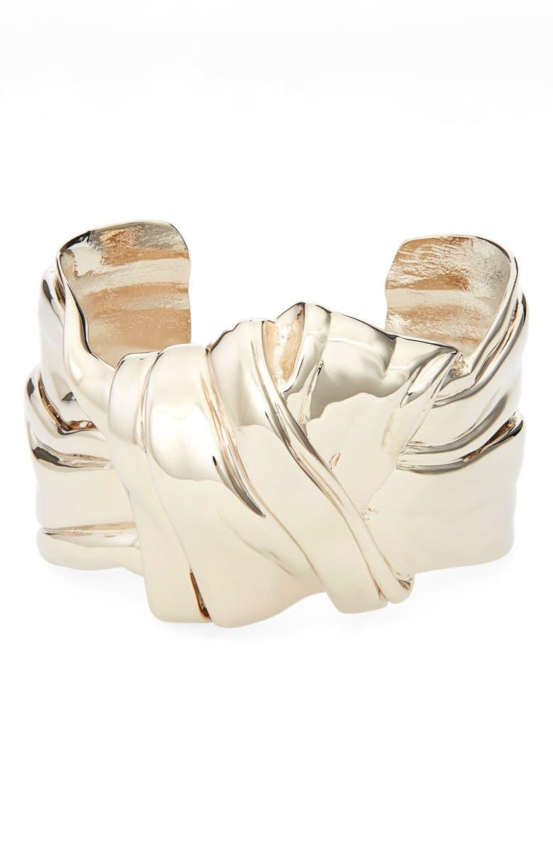 SAINT LAURENT Knot Cuff Bracelet, Main, color, GOLD