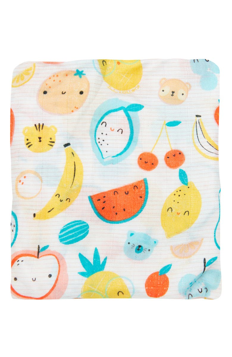 LOULOU LOLLIPOP Cutie Fruits Muslin Crib Sheet, Main, color, MULTI