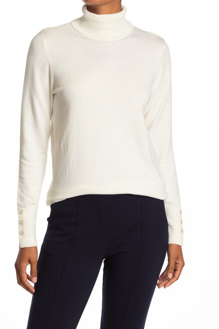 Image of JOSEPH A Turtleneck Button Sleeve Pullover Sweater