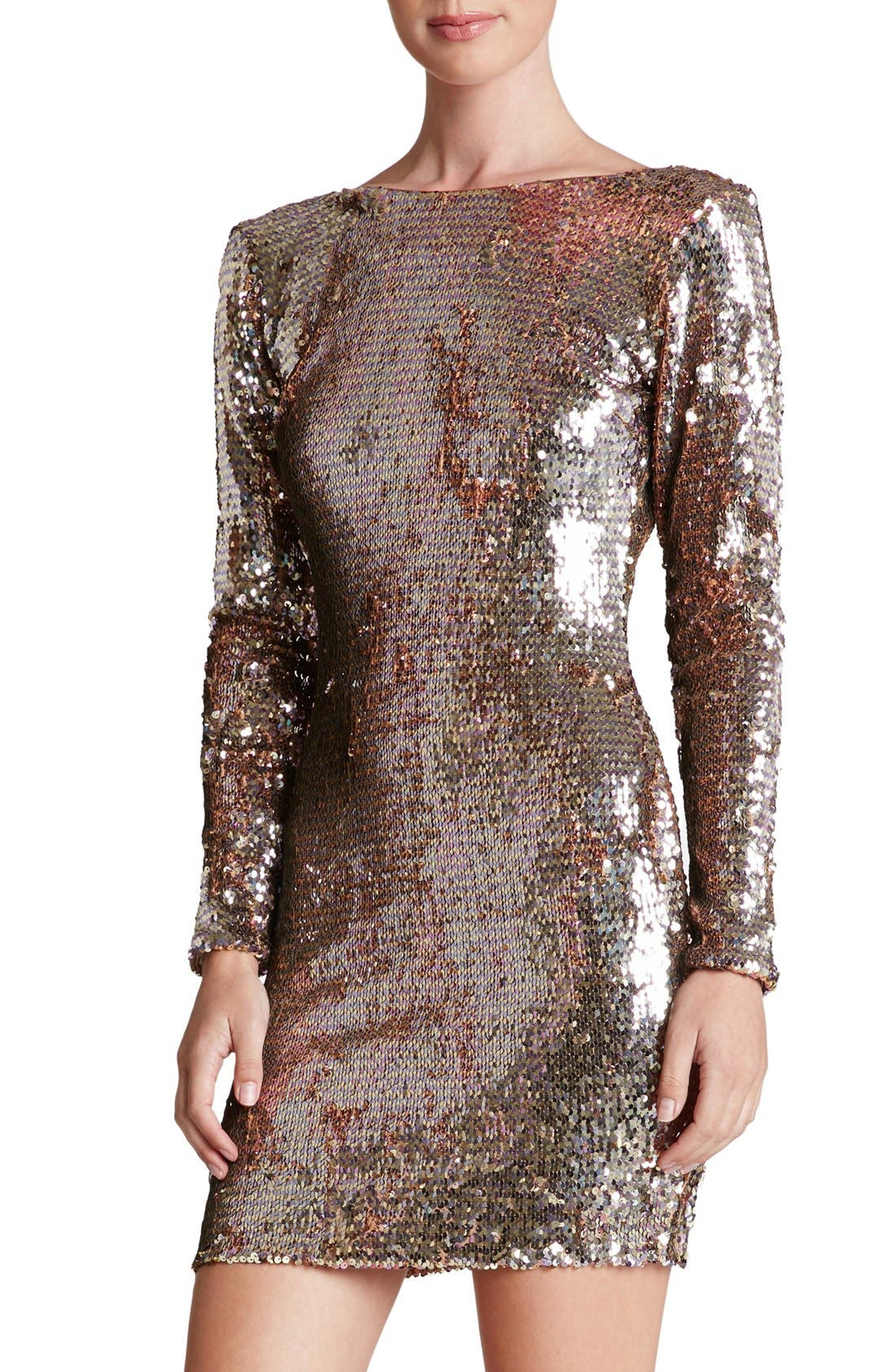 'Lola' Backless Sequin Minidress, Main, color, 710