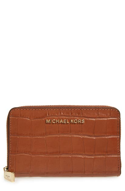Michael Michael Kors Jet Set Small Zip-around Croco Card Case Wallet In Chestnut