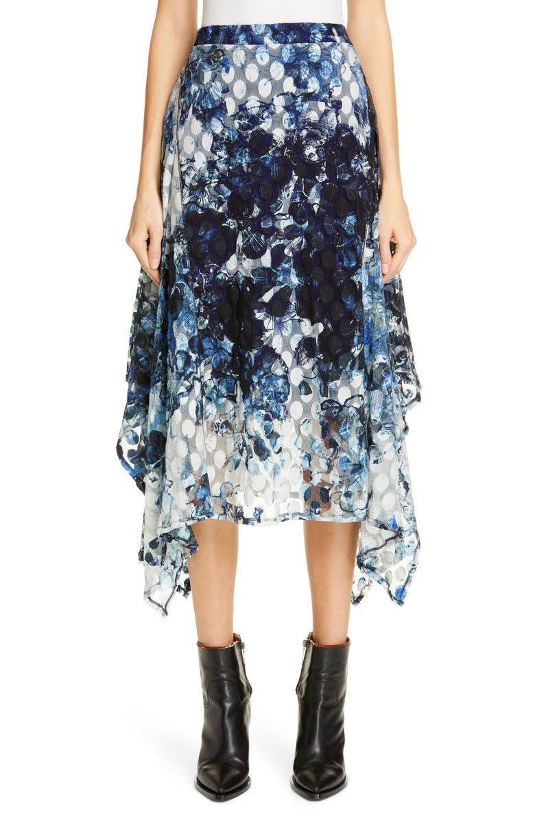 FUZZI Abstract Dot Handkerchief Hem Skirt, Main, color, 400