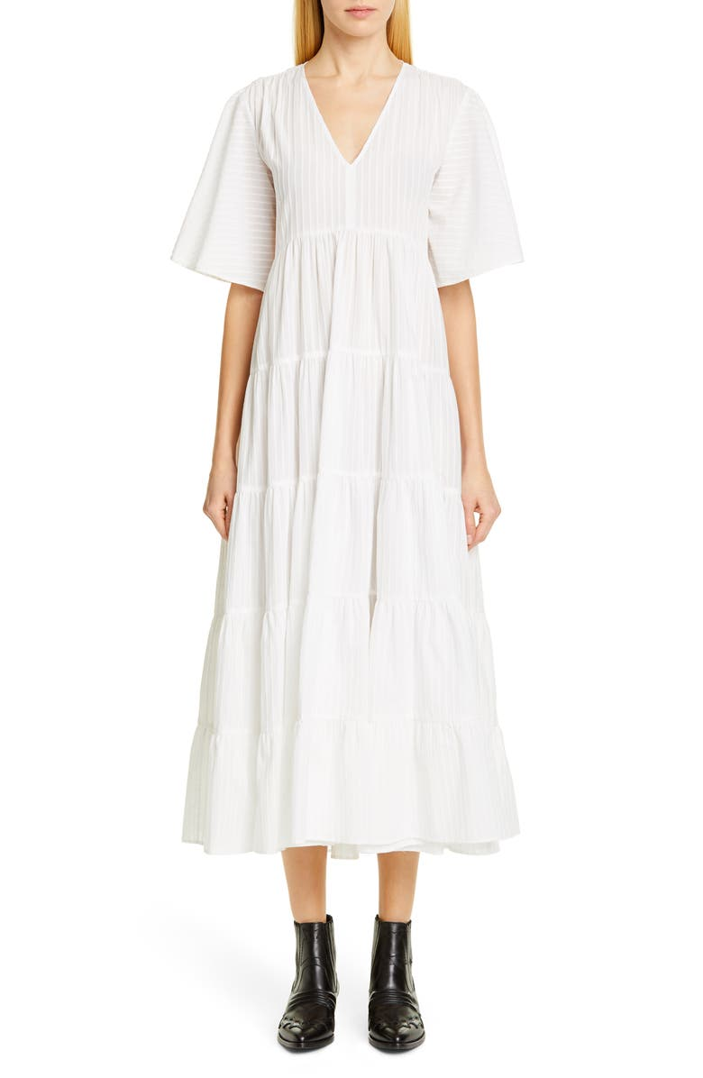 MERLETTE Sinharaja Chenille Stripe Midi Dress, Main, color, WHITE