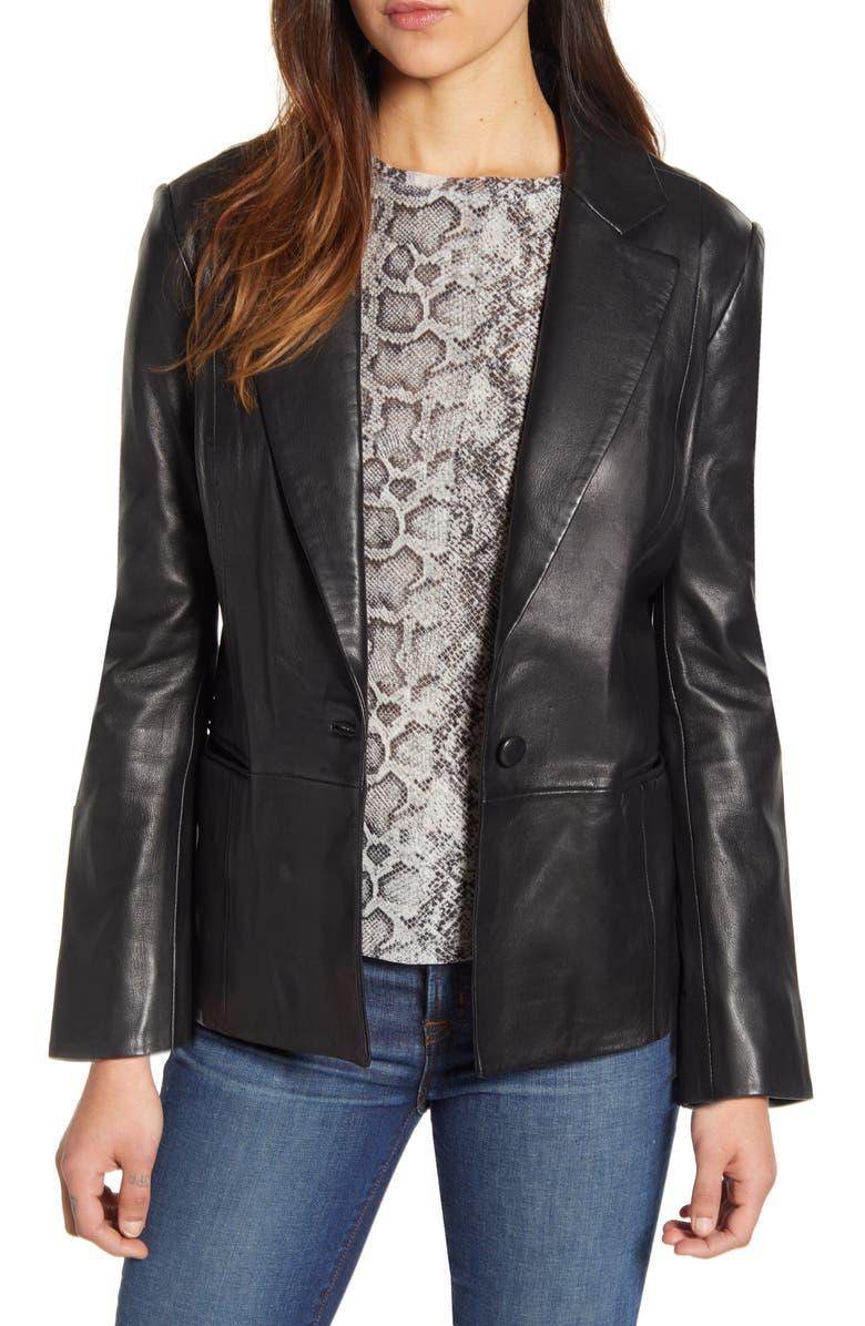 LUCKY BRAND Leather Blazer, Main, color, 001 LUCKY