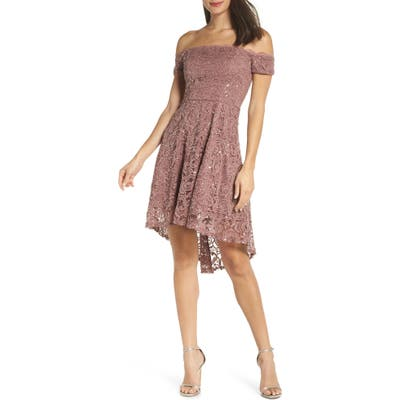 Sequin Hearts Off The Shoulder Sequin Lace Cocktail Dress, Pink