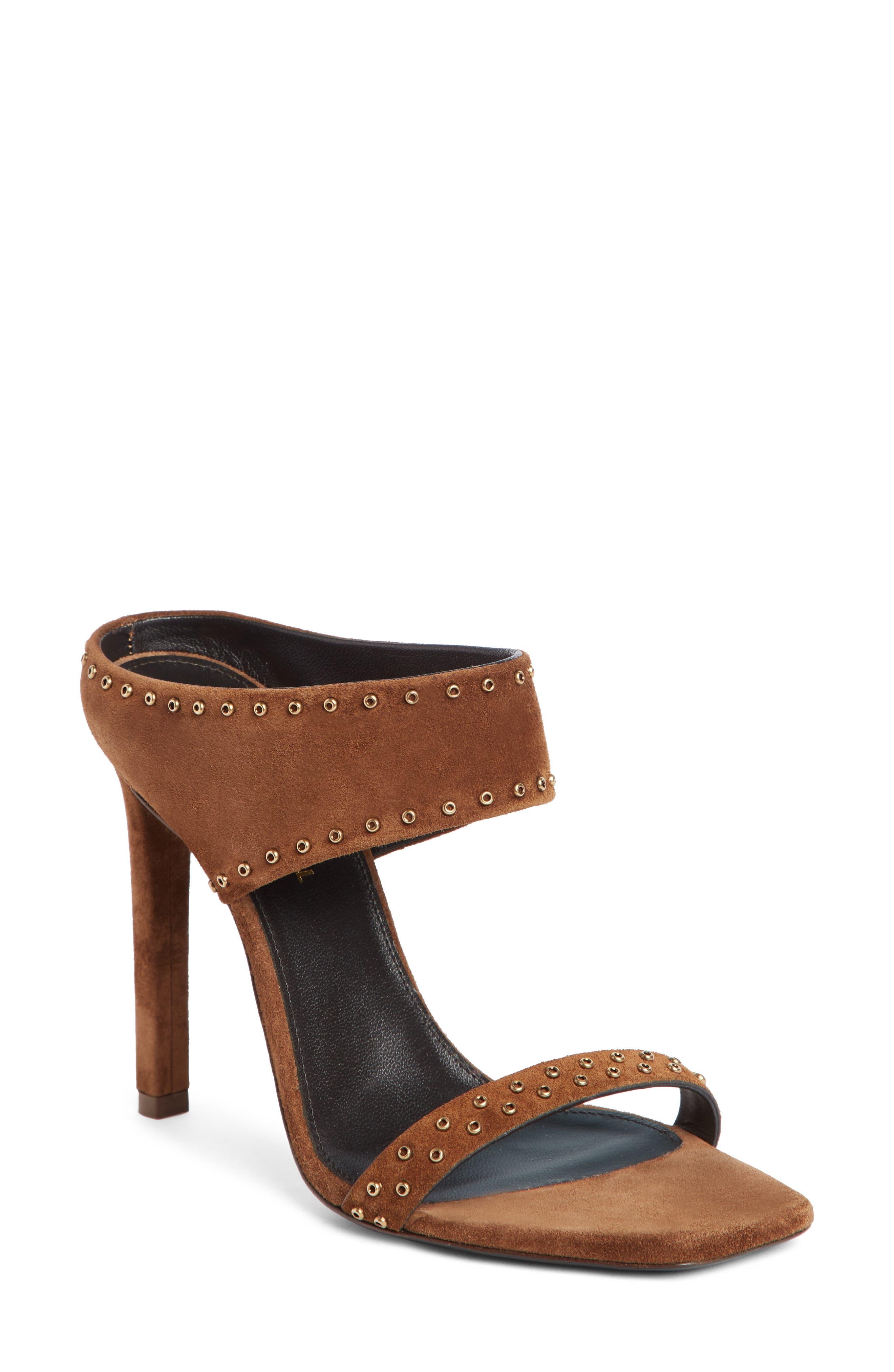 Saint Laurent Mica Grommet Slide Sandal - Brown
