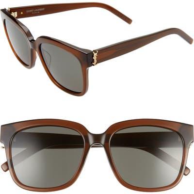 Saint Laurent 5m Square Sunglasses - Brown/ Grey