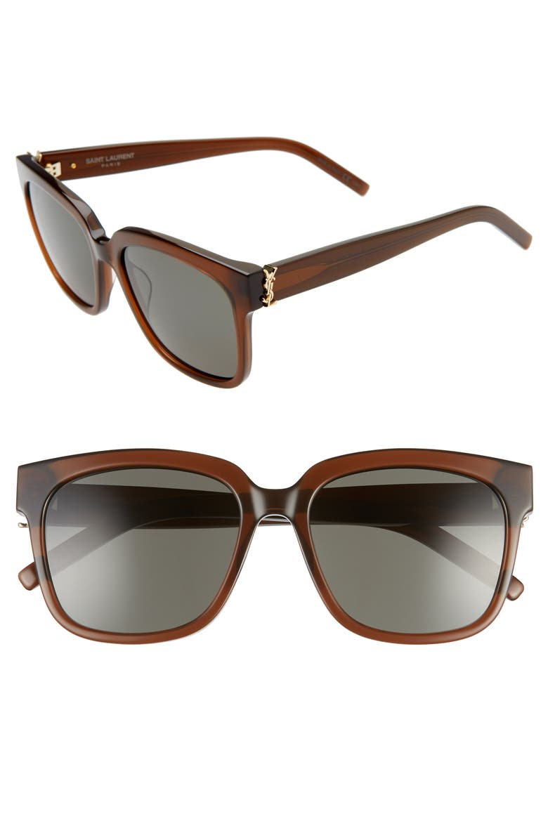 SAINT LAURENT 54mm Square Sunglasses, Main, color, BROWN/ GREY