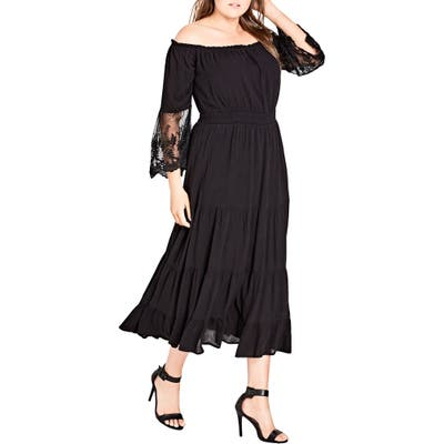 Plus Size City Chic Ethereal Maxi Dress, Black