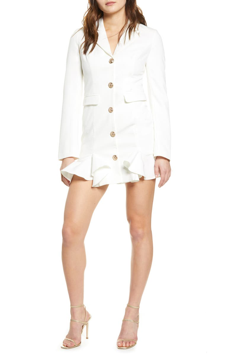 ENDLESS ROSE Ruffle Hem Jacket Minidress, Main, color, WHITE
