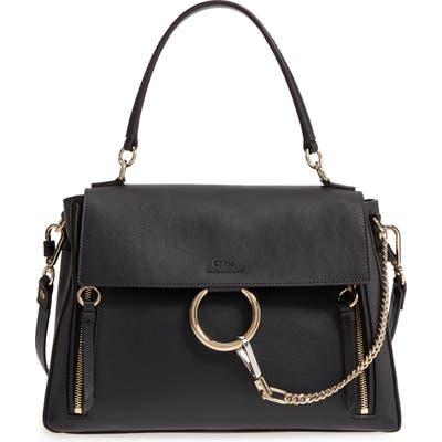Chloe Medium Faye Leather Shoulder Bag - Black