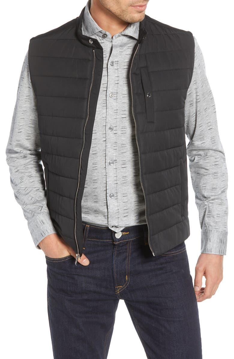 BUGATCHI Quilted Vest, Main, color, BLACK