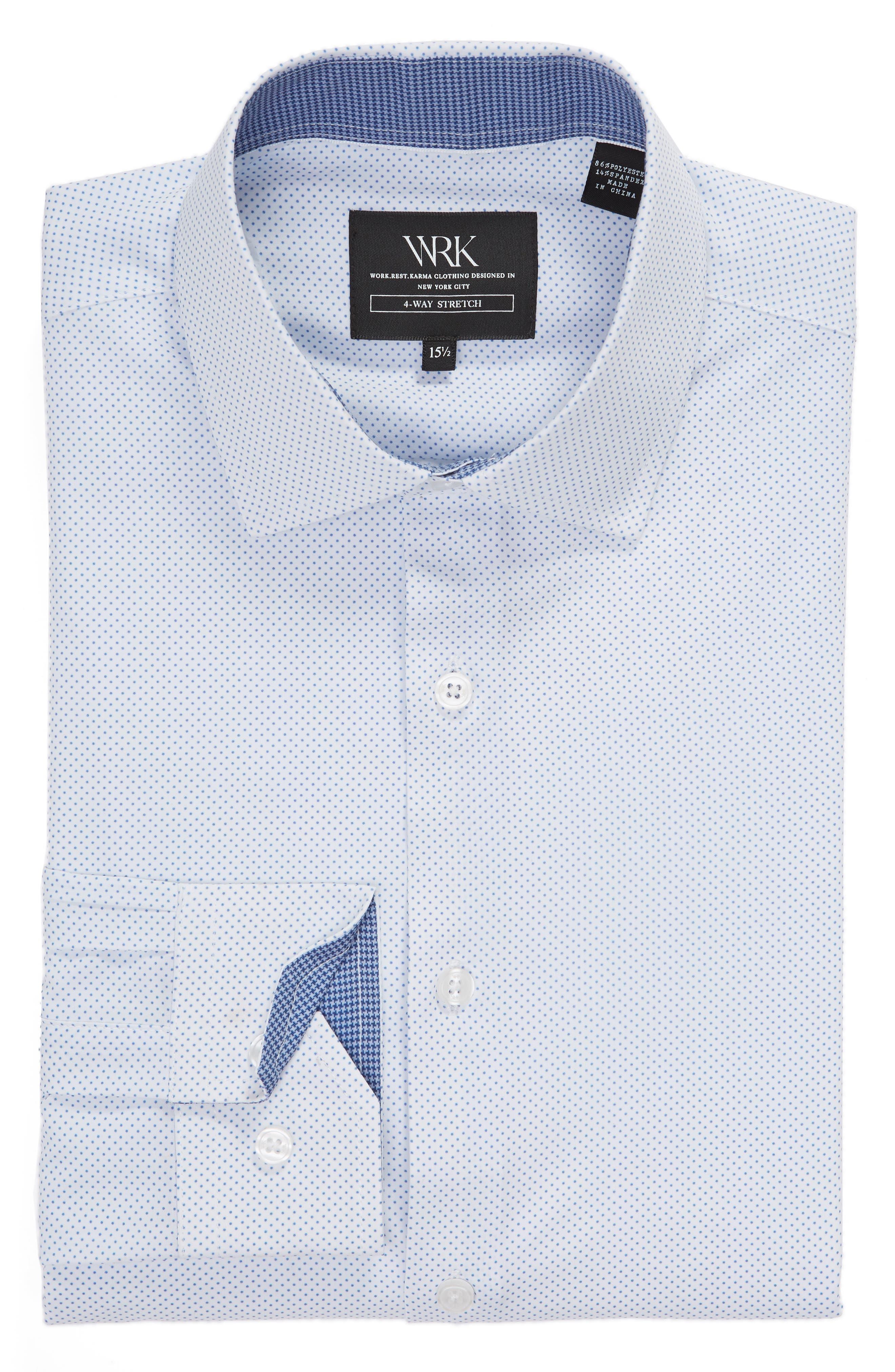 ,                             Slim Fit Performance Stretch Dot Dress Shirt,                             Alternate thumbnail 5, color,                             LIGHT BLUE