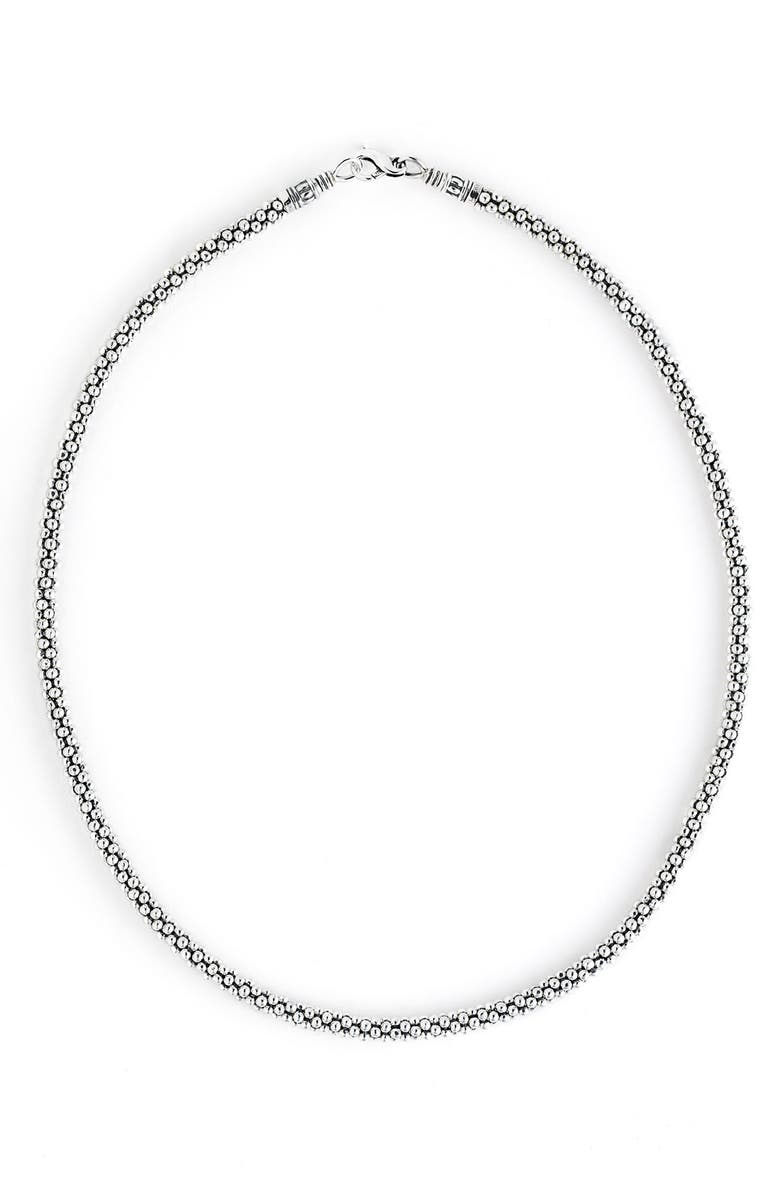 LAGOS 'Signature' Rope Necklace, Main, color, STERLING SILVER