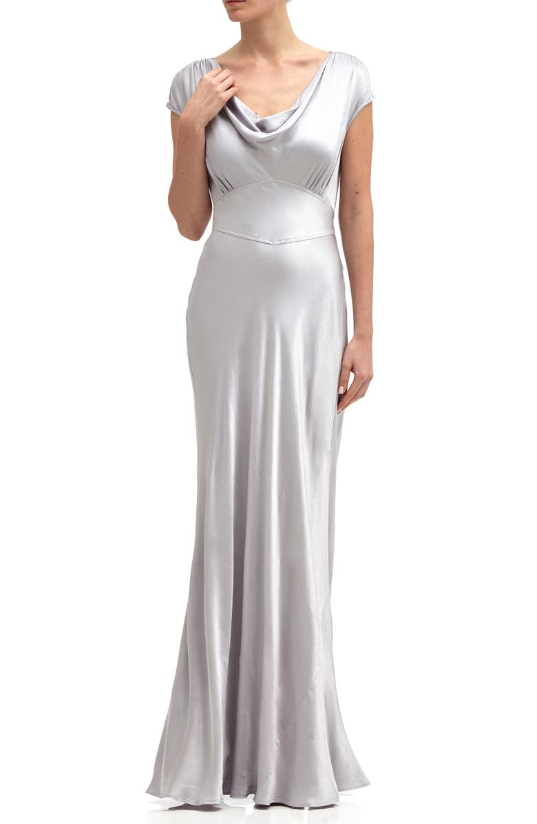 GHOST LONDON Fern Cowl Neck Gown, Main, color, SILVER LAKE