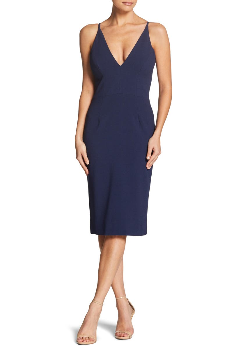 DRESS THE POPULATION Lyla Crepe Sheath Dress, Main, color, MIDNIGHT BLUE
