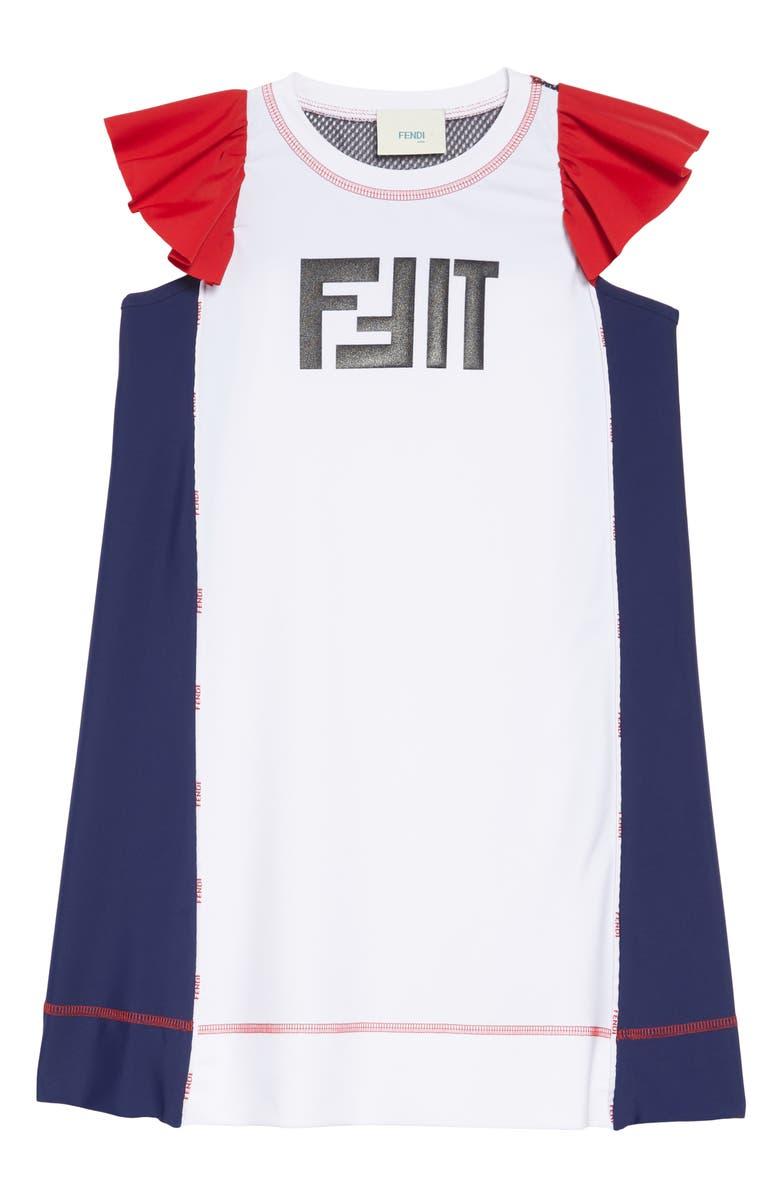 FENDI Fit Logo Sport Dress, Main, color, 100