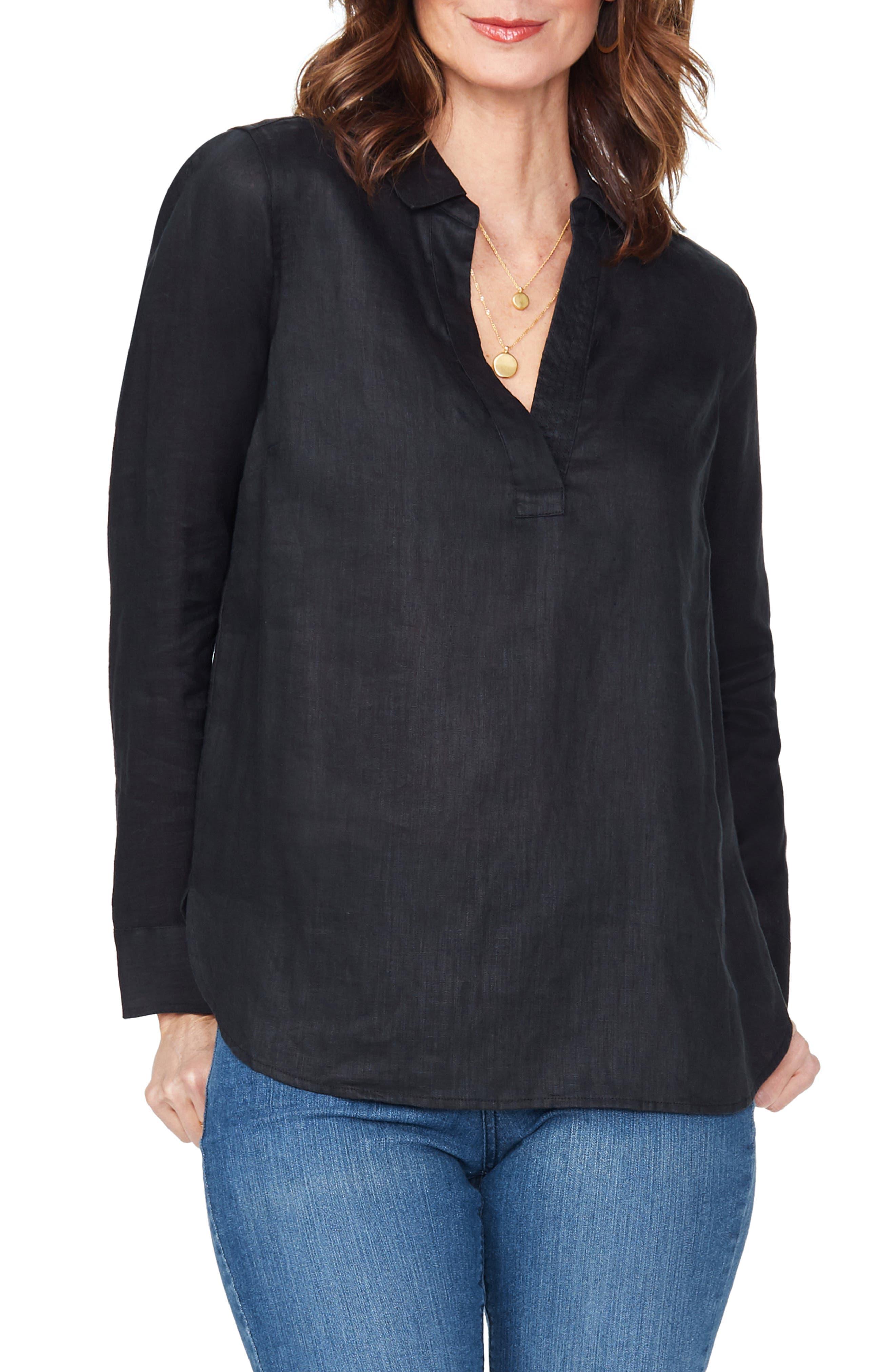 ,                             Linen Tunic,                             Main thumbnail 1, color,                             BLACK