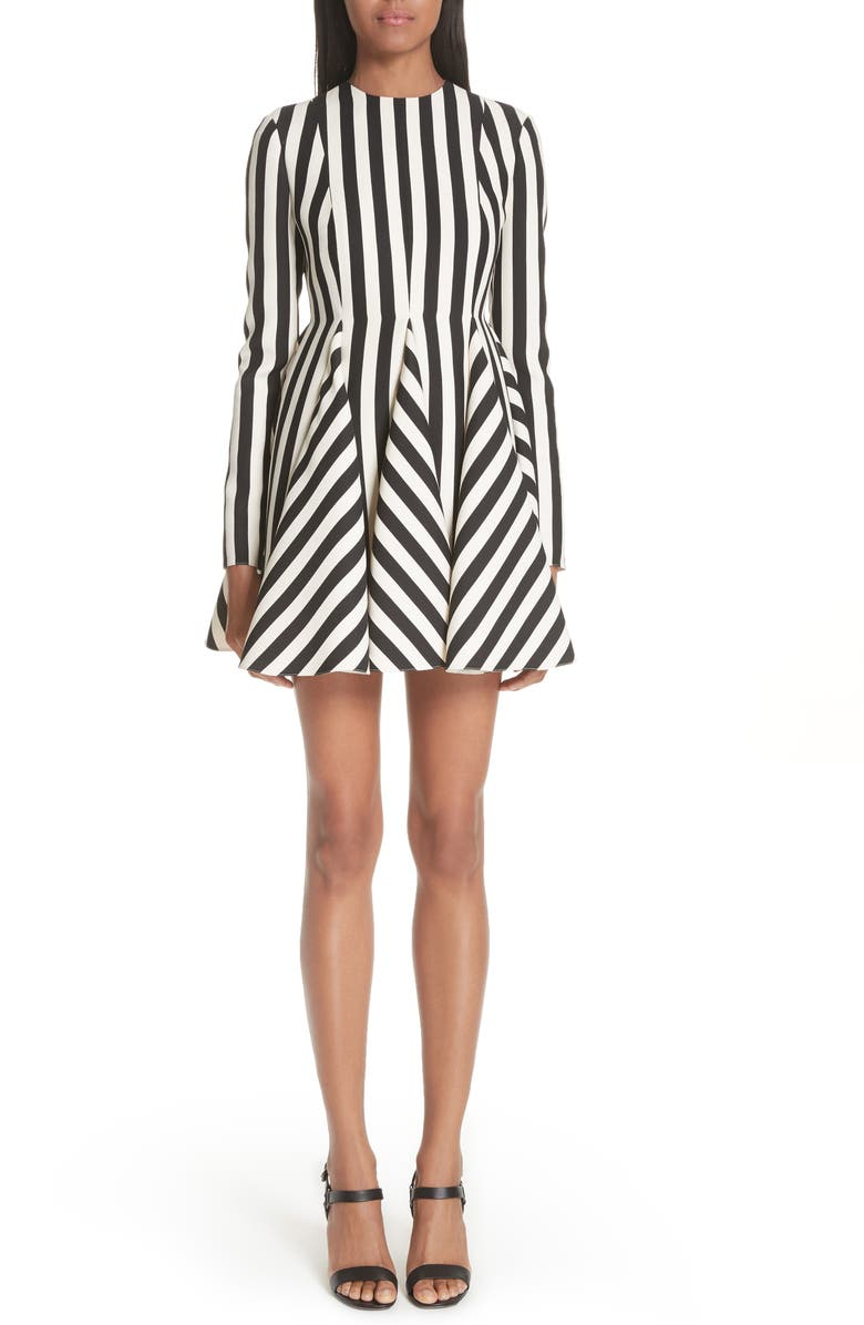 VALENTINO Stripe Crepe Dress, Main, color, 101