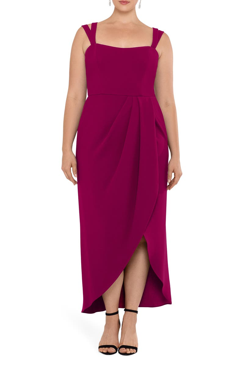 XSCAPE Side Ruched Double Strap Crepe Gown, Main, color, 699