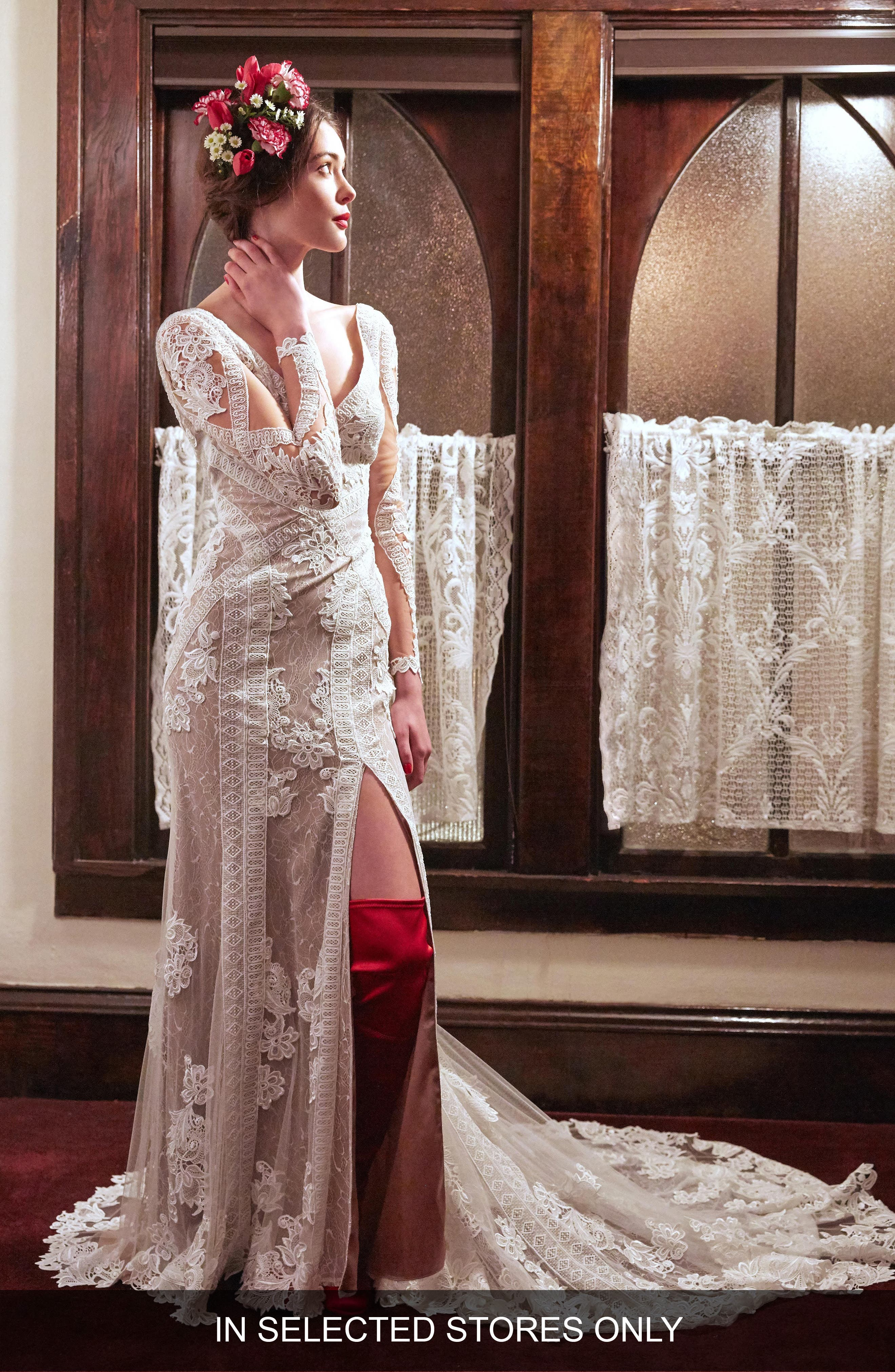 Willowby Foxglove Front Slit Lace Gown, Size IN STORE ONLY - Ivory