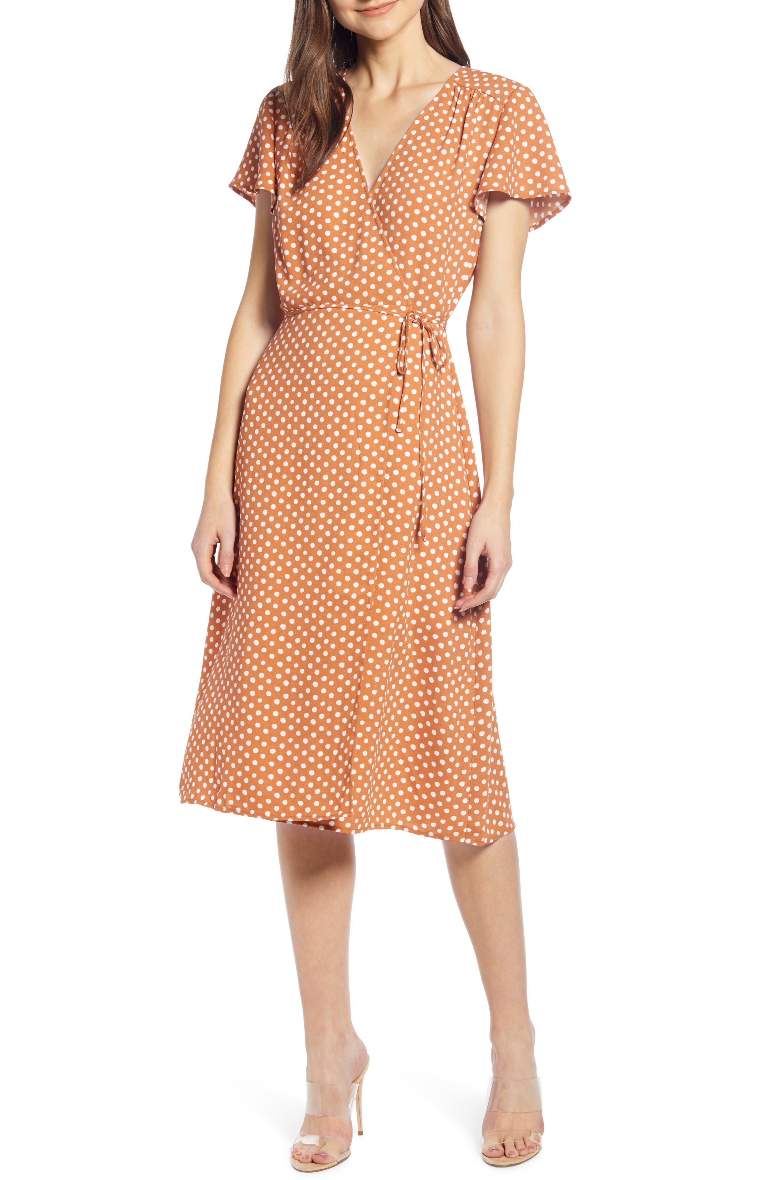 Leith Midi Wrap Dress, Brown