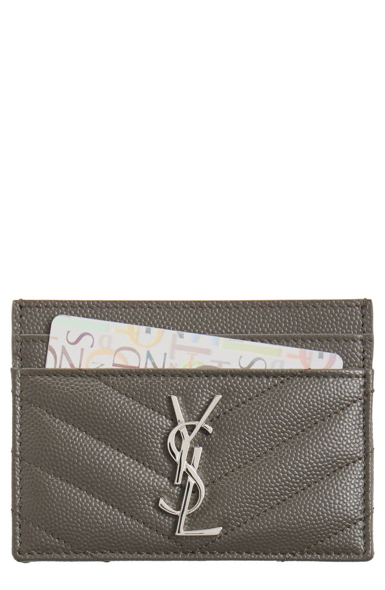 SAINT LAURENT 'Monogram' Credit Card Case, Main, color, 079