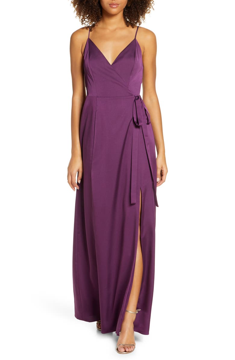 WAYF The Angelina Slit Wrap Gown, Main, color, PURPLE DAHLIA