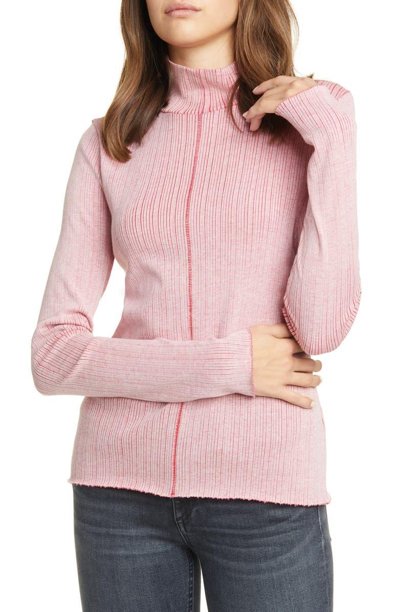 RAG & BONE Elina Ribbed Cotton Blend Turtleneck Sweater, Main, color, WHITE/ PINK