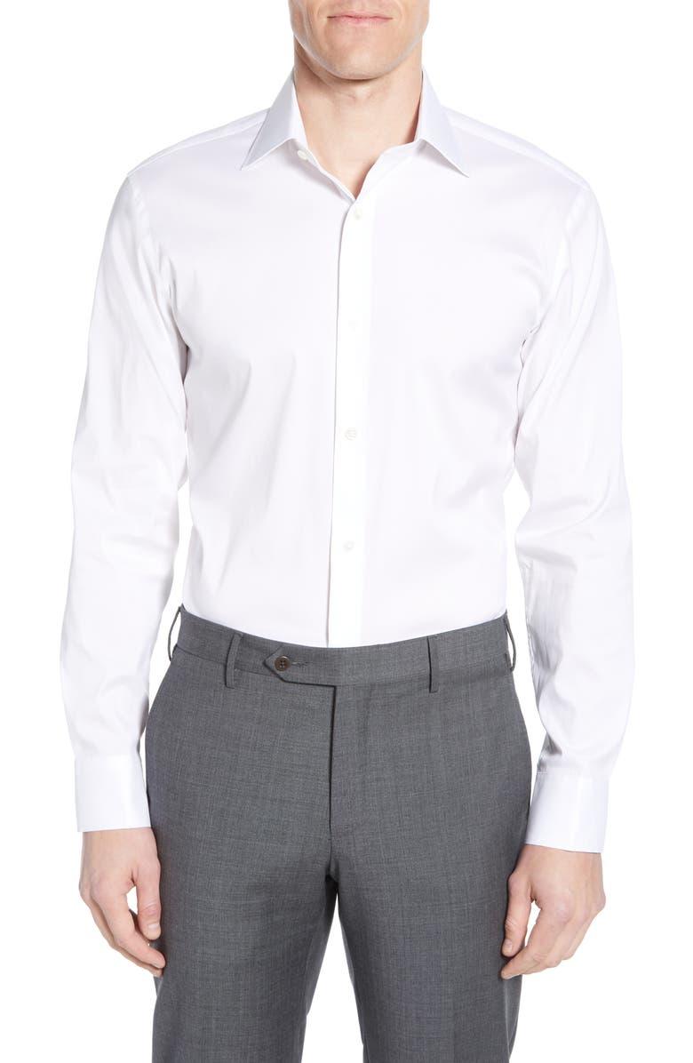 BONOBOS Slim Fit Stretch Solid Dress Shirt, Main, color, WHITE