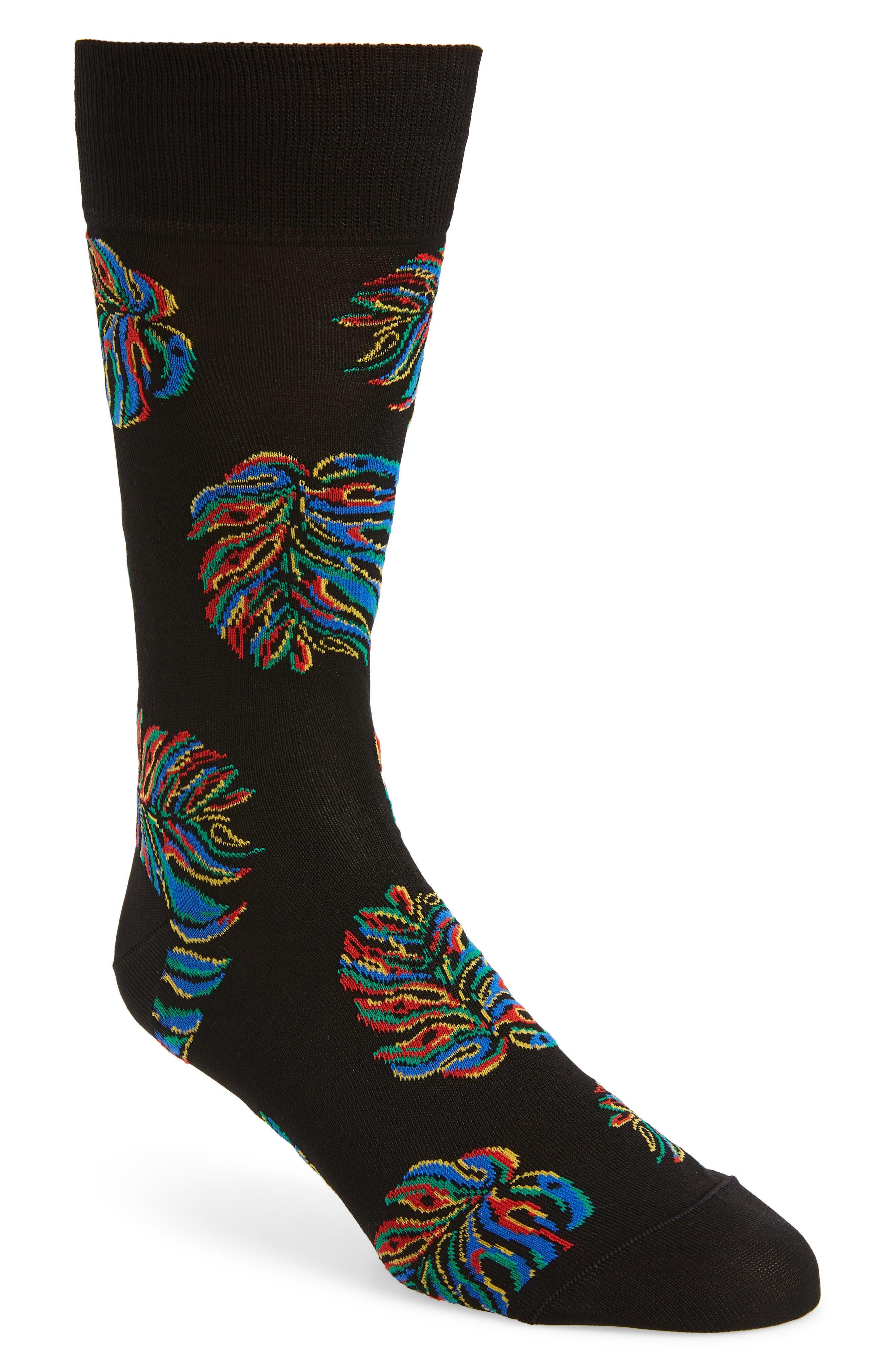 men's bugatchi patterned mercerized cotton blend socks, size one size - black