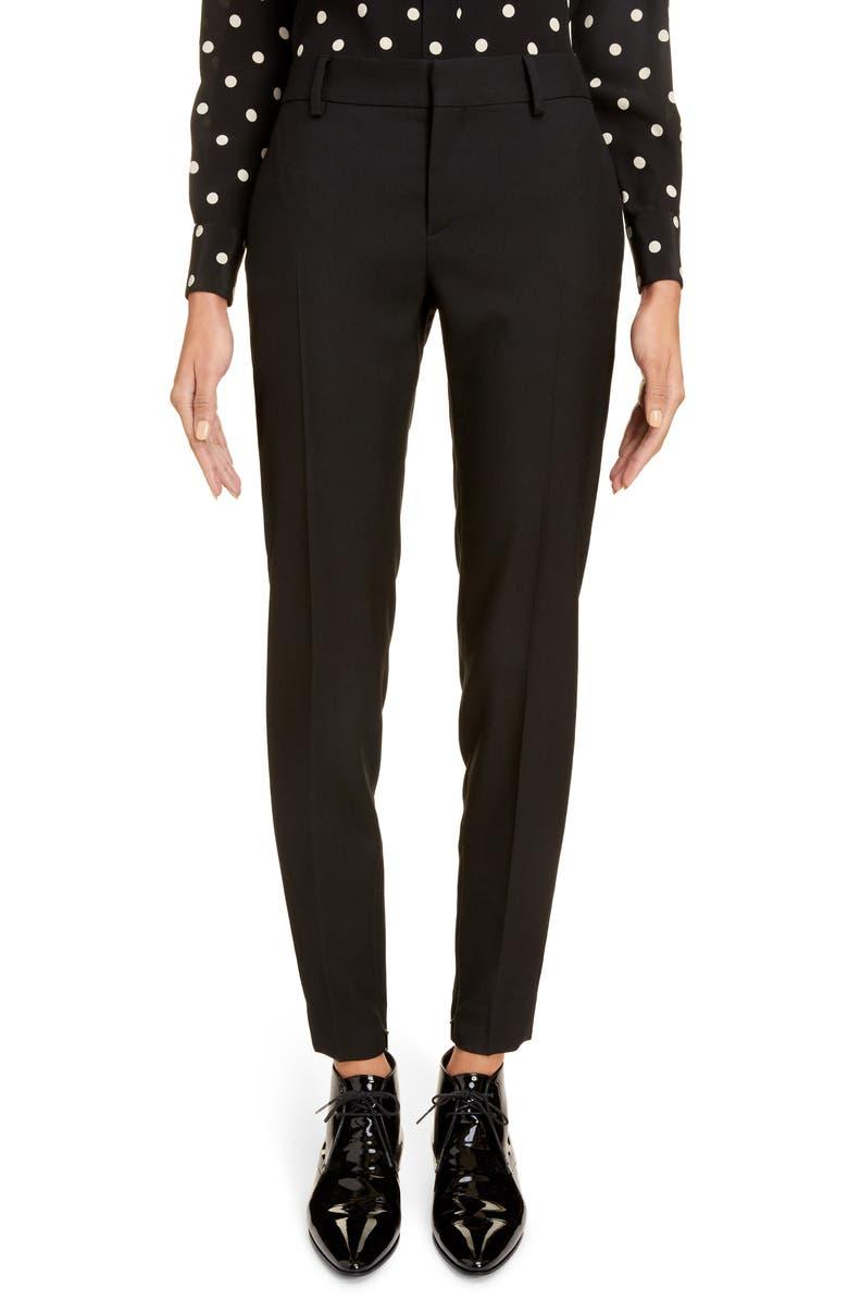 SAINT LAURENT Wool Gabardine Skinny Pants, Main, color, NOIR