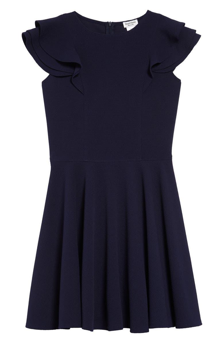 DAVID CHARLES Flutter Sleeve Dress, Main, color, NAVY