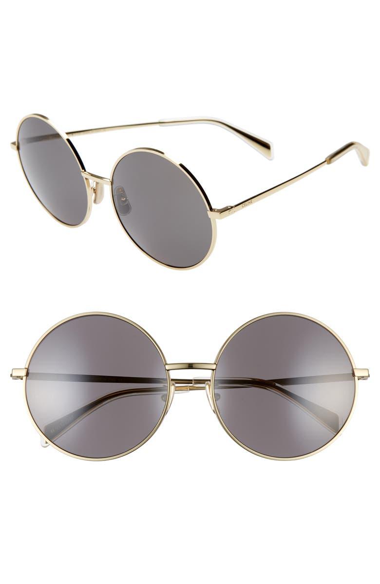CELINE 61mm Round Sunglasses, Main, color, ENDURA GOLD/ SMOKE