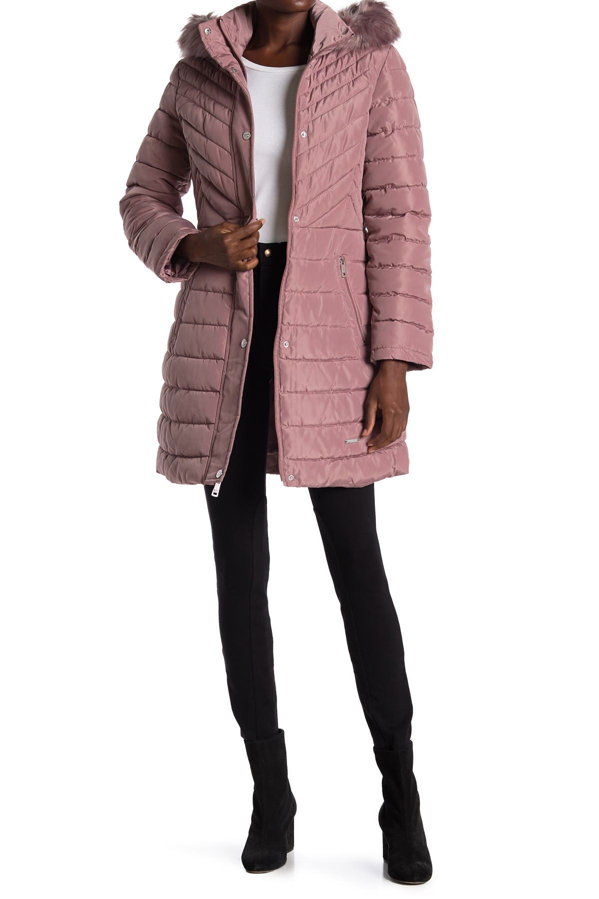 Image of Kenneth Cole New York Faux Fur Trimmed Removable Hooded Satin Quilted Puffer Jacket