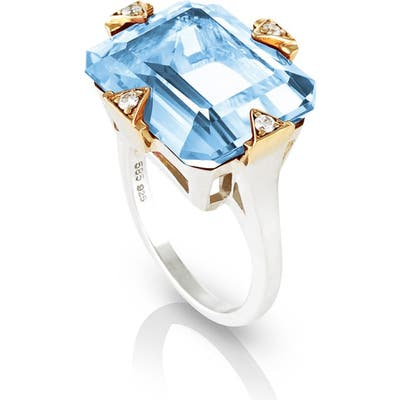 Maniamania Cocktail Ring With Blue Topaz & Diamonds