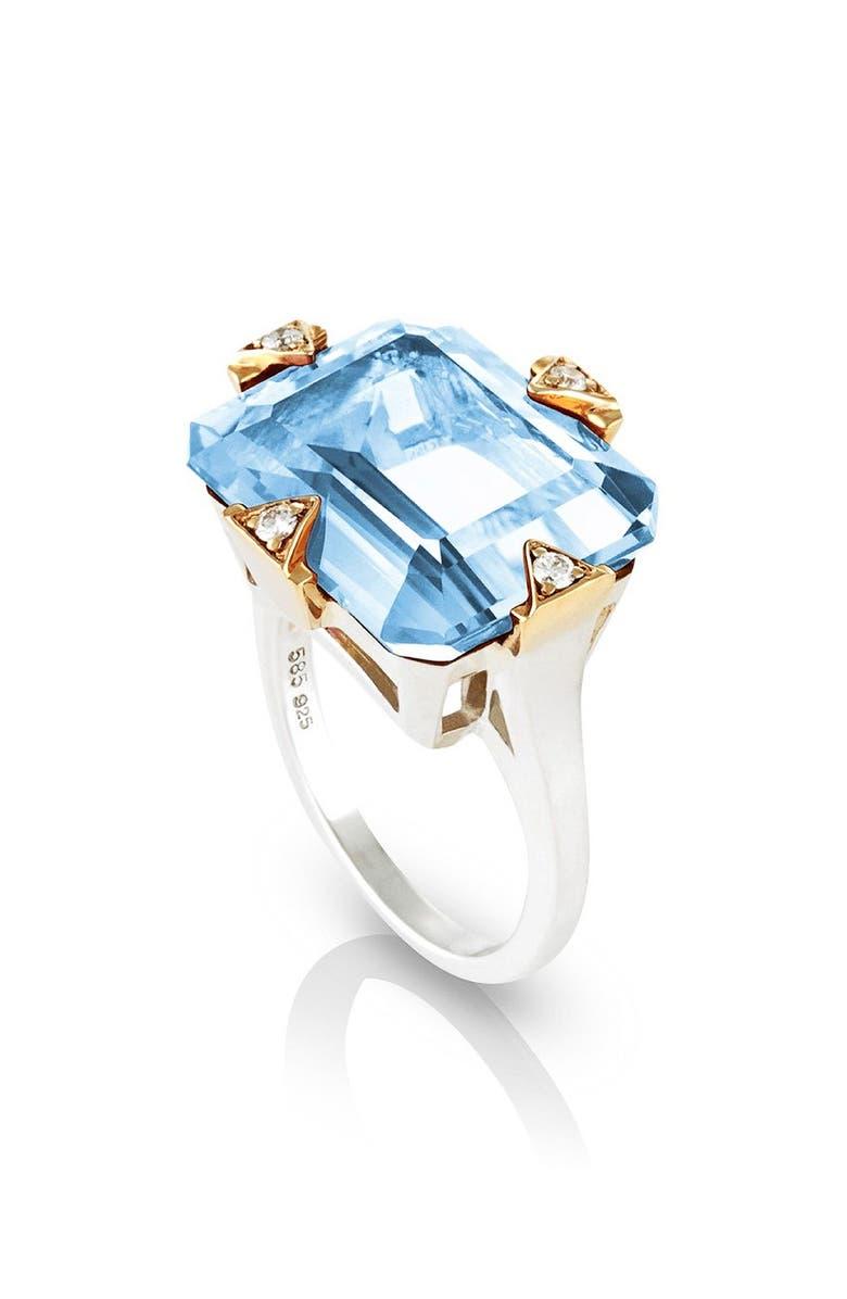 MANIAMANIA Cocktail Ring with Blue Topaz & Diamonds, Main, color, BLUE TOPAZ