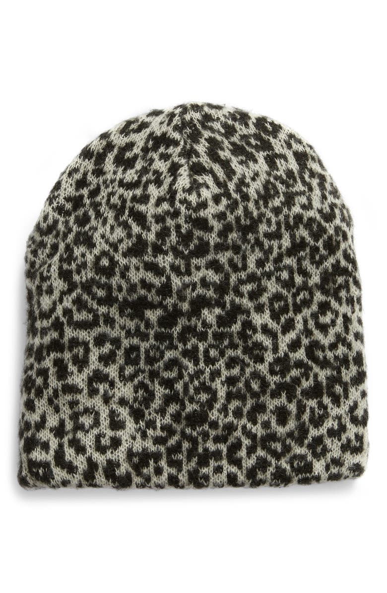 SOMETHING NAVY Slouchy Beanie, Main, color, GREY BIG CAT COMBO