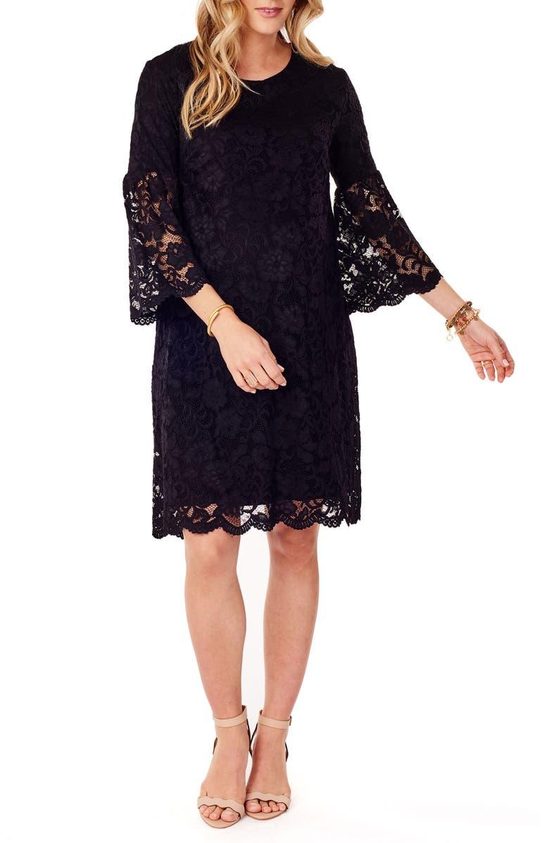 INGRID & ISABEL<SUP>®</SUP> Lace Bell Sleeve Maternity Dress, Main, color, JET BLACK