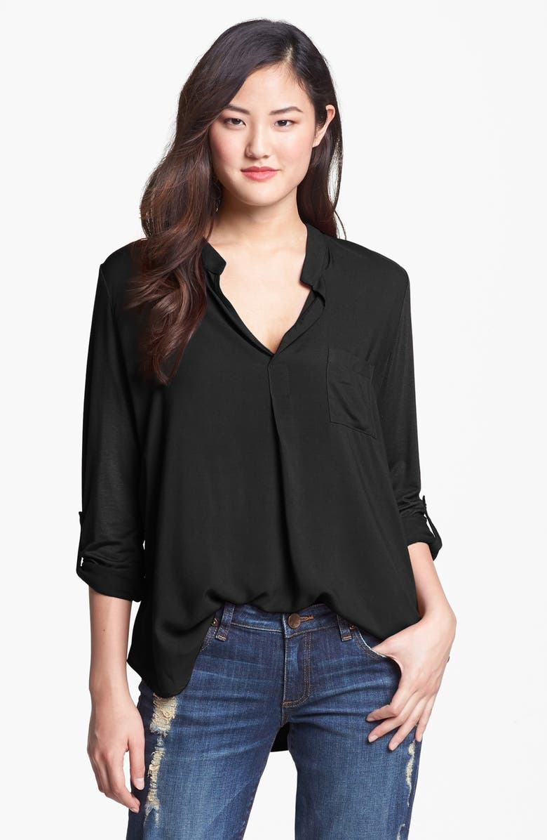 PLEIONE Mixed Media Roll Sleeve Top, Main, color, 001