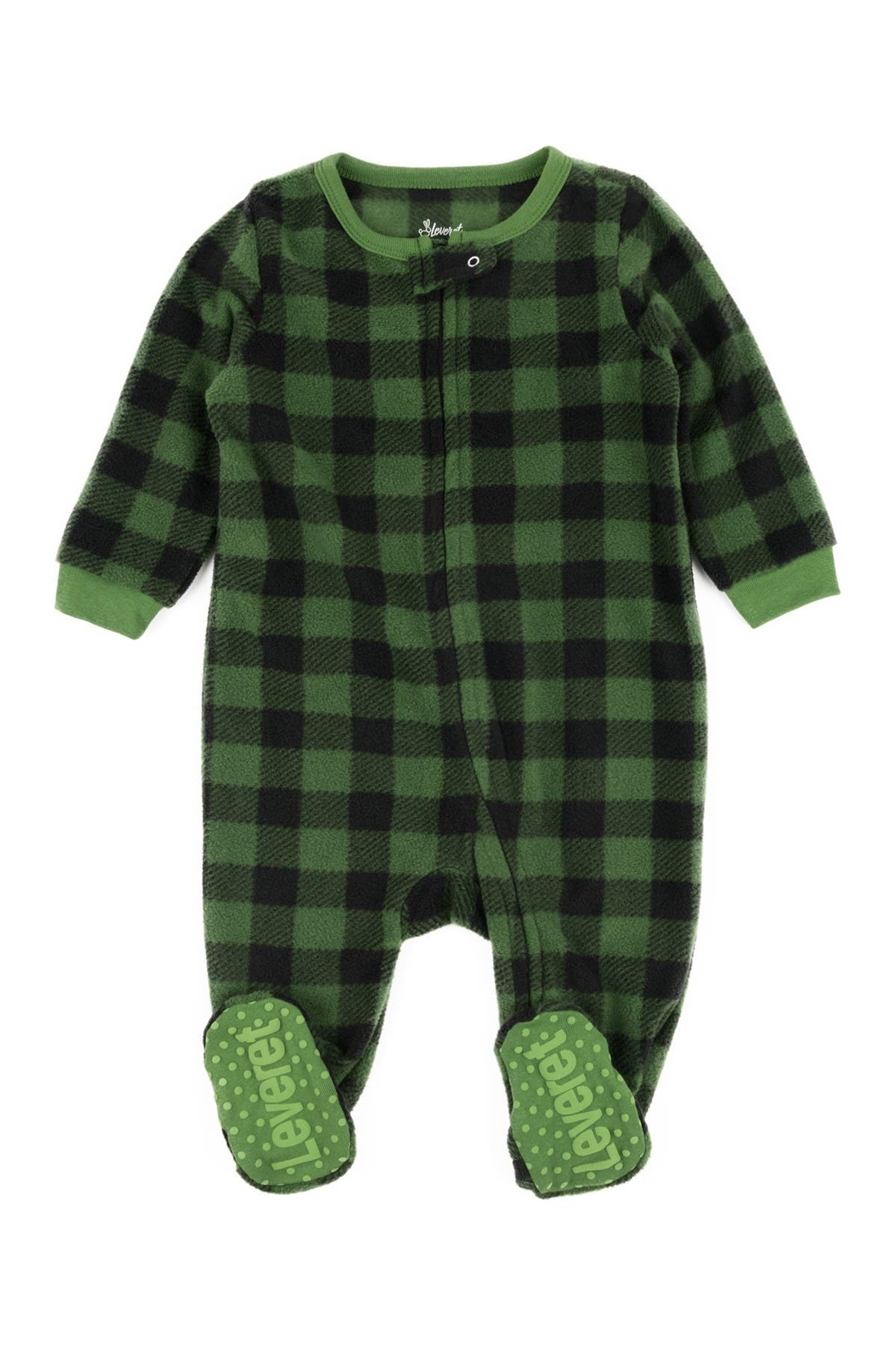 Image of Leveret Green and Black Plaid Footed Fleece Sleeper